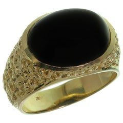 Oval Black Onyx Nugget Yellow Gold Estate Men's Ring