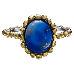 Oval Blue Lapis Cabochon Ring in 24 Karat Gold and Platinum