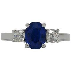 Oval Blue Sapphire 2 Old Mine Diamond 18 Karat Gold Cushion Gem Engagement Ring