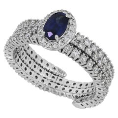 Oval Blue Sapphire Adjustable Ring in 18 Karat White Gold with Diamond