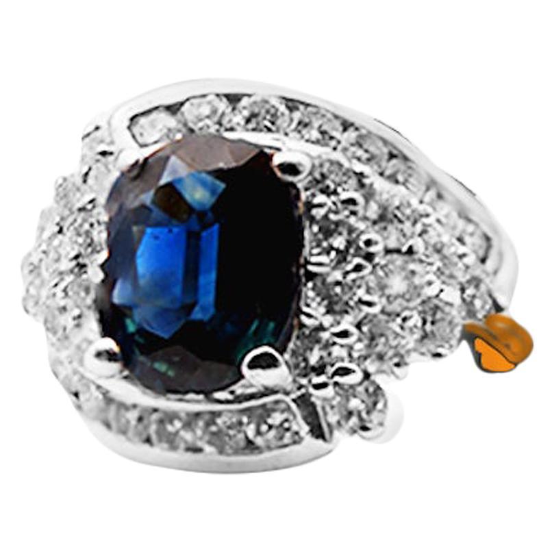 Oval, Blue Sapphire Cocktail Diamond Ring, 14 Karat Ring