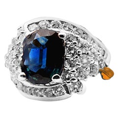 Oval, Blue Sapphire Cocktail Diamond Ring, 14 Karat Ring
