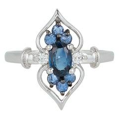 Oval Blue Sapphire Diamond Art Deco Vintage Marquise Fashion Ring 14 Karat Gold