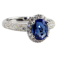 Oval Blue Sapphire Diamond Engagement Ring