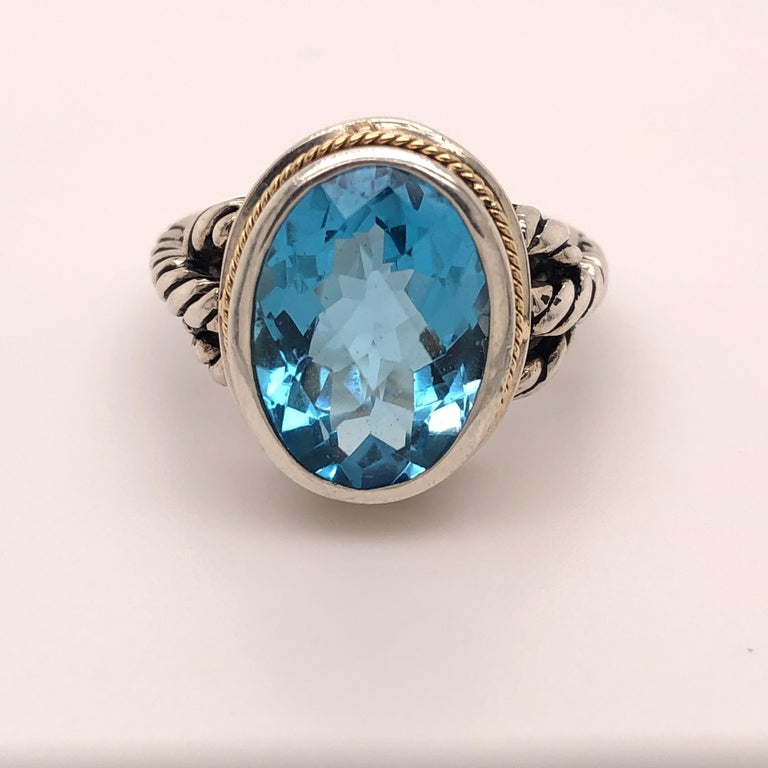 Oval Blue Topaz Ring In Good Condition In Towson, MD