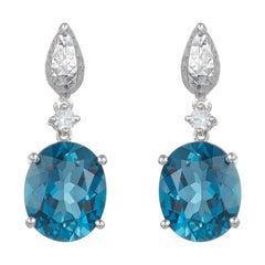 Oval Blue Topaz Vintage Inspired Dangle Drop Earrings Diamond 14K White Gold