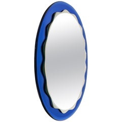 Oval Blue Wall Mirror by Crystal Arte, Italy, 1960s