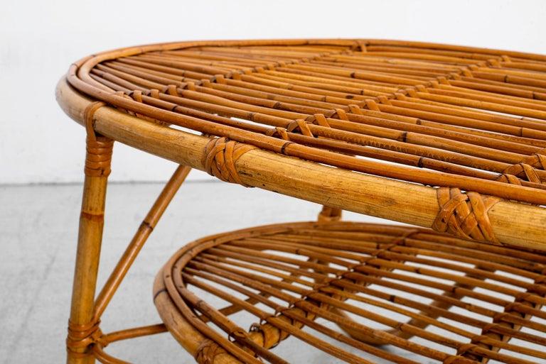 Oval Italian Rattan Coffee Table For Sale 6