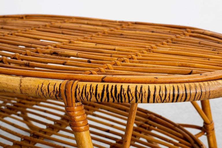 Oval Italian Rattan Coffee Table For Sale 7