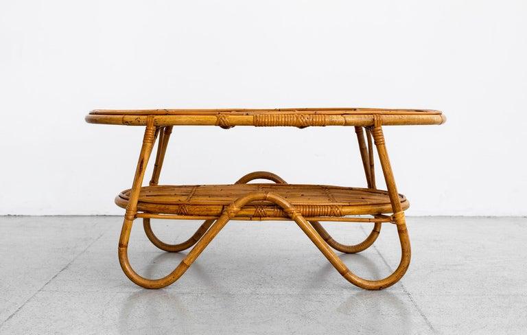 Mid-20th Century Oval Italian Rattan Coffee Table For Sale