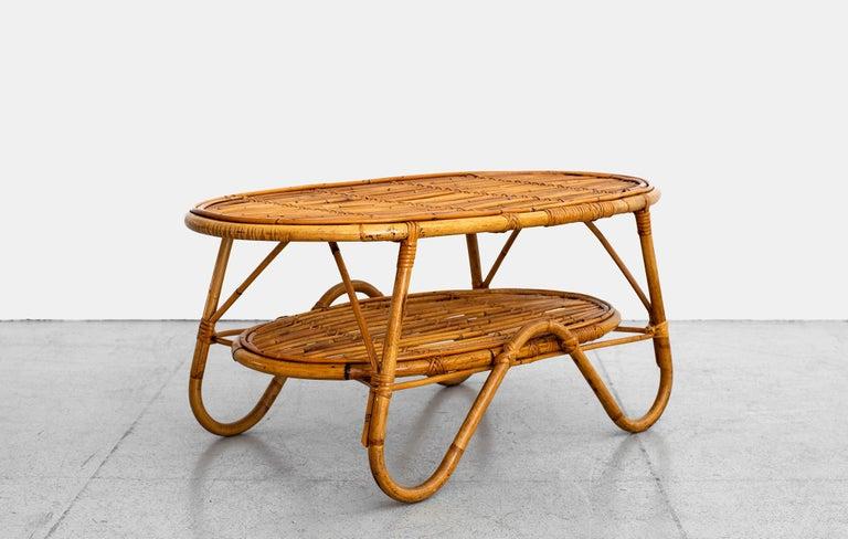 Oval Italian Rattan Coffee Table For Sale 1