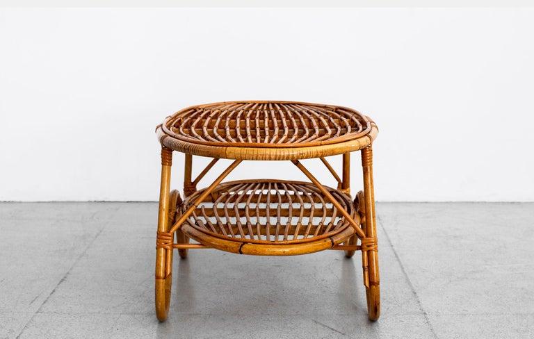 Oval Italian Rattan Coffee Table For Sale 3