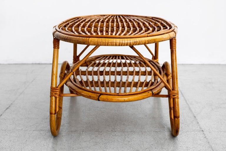 Oval Italian Rattan Coffee Table For Sale 4