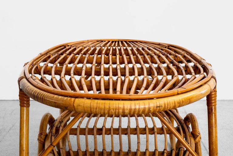 Oval Italian Rattan Coffee Table For Sale 5