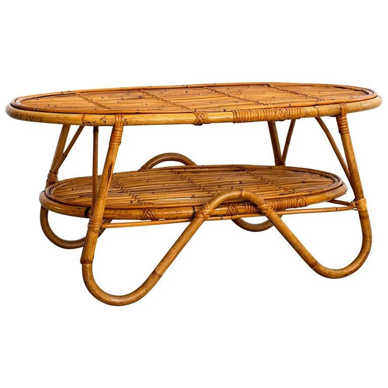 Oval Italian Rattan Coffee Table For Sale