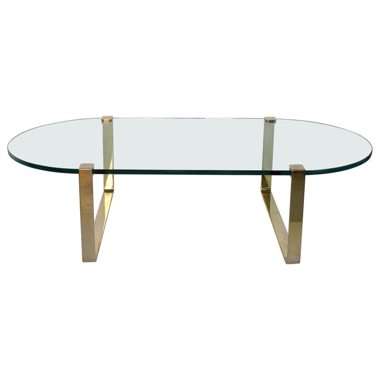 Oval Brass And Floating Glass Coffee Table For Sale At 1stdibs