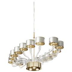Oval Brass and Venetian Glass Chandelier