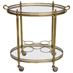 Oval Brass Bar Cart with Removable Tray and Bottle Holders