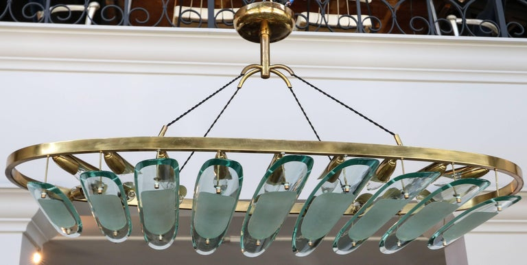 Italian Oval Brass Fontana Arte for Dominici Chandelier with Long Glass Pieces For Sale