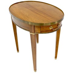 Oval Brass Gallery One-Drawer End Side Table in Bleached Rosewood by Baker