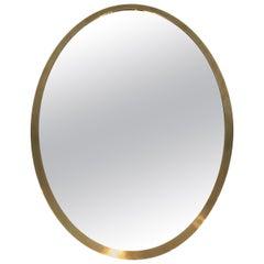 Oval Brass Mirror, French, circa 1970