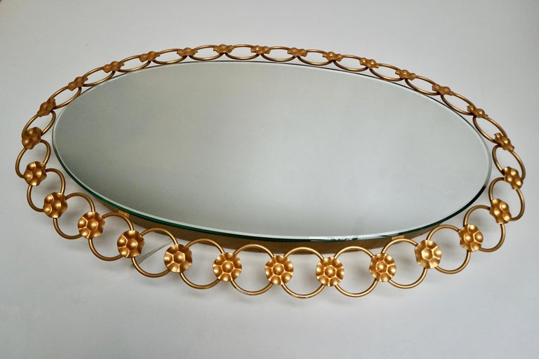 German Oval Brass Mirror with Light, Italy, 1940s For Sale