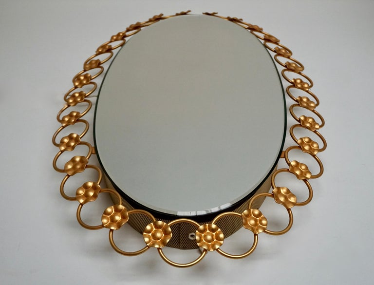 20th Century Oval Brass Mirror with Light, Italy, 1940s For Sale