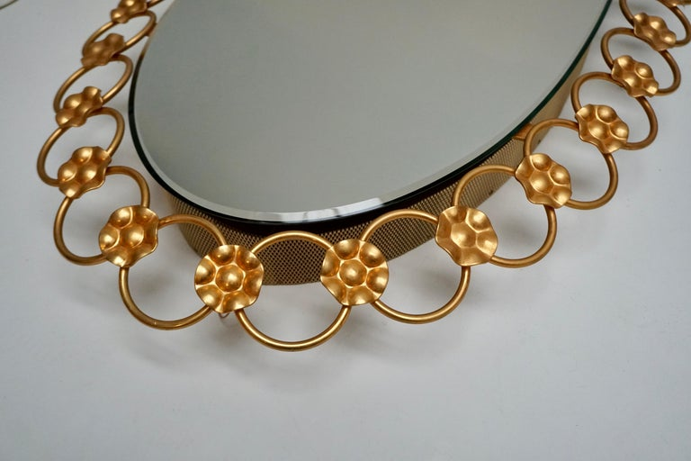 Oval Brass Mirror with Light, Italy, 1940s For Sale 1