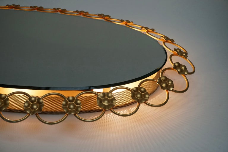 Oval Brass Mirror with Light, Italy, 1940s For Sale 2