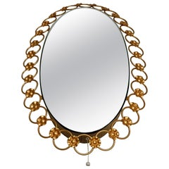 Oval Brass Mirror with Light, Italy, 1940s