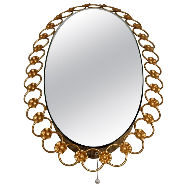 Oval Brass Mirror with Light, Italy, 1940s For Sale