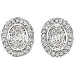 Oval Brilliant-Cut Diamond Halo Stud Earrings