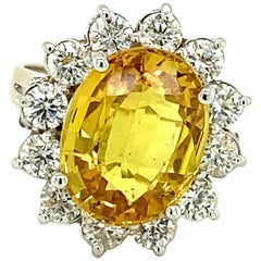 Oval Brilliant Golden Yellow Sapphire and Diamond Ring