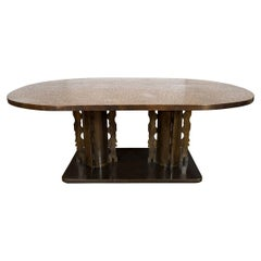 "Oval Bronze and Pewter ""Etruscan"" Dining Table"