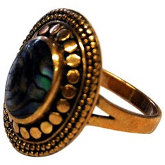 Oval Bronze Ring with Shimmering Stone by Pentti Sarpaneva, Finland, 1960s