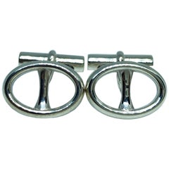 Oval Buckle Shaped Solid Sterling Silver Cufflinks