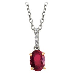 Oval Burma Red Ruby with Diamond Bail in White and Yellow Gold Pendant Necklace