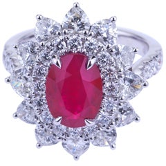 Oval Burma Ruby with Hearth Diamonds White Gold Ring with Certificate