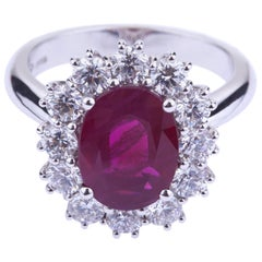 Oval Burma Ruby with Round Diamonds White Gold Ring with Certificate