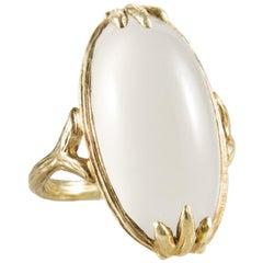 Gabrielle Sanchez Oval Cabachon Moonstone 18 Karat Textured Split Shank Ring