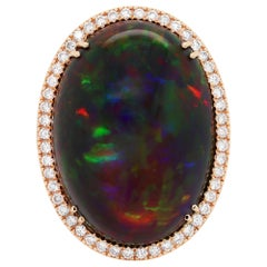 Oval Cabochon Black Opal and Diamond 18 Carat Rose Gold Ring