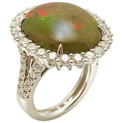 Oval Cabochon Boulder Opal and Round Diamond White Gold Ring
