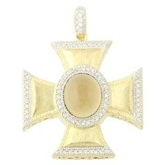 Oval Cabochon Citrine & Diamond Jude Frances Cross Pendant 18k Gold Halo .40ctw