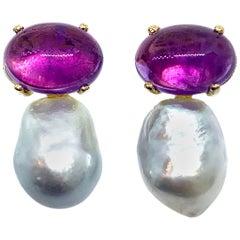 Oval Cabochon-cut Amethyst and Australian South Sea Baroque Pearl Drop Earrings