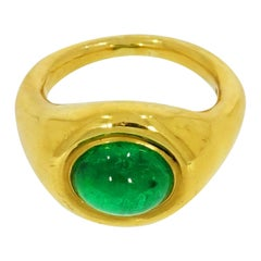 Oval Cabochon Cut Emerald Yellow Gold Ring
