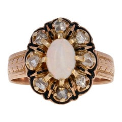 Oval Cabochon Cut Opal and Diamond Victorian Ring, 14 Karat Gold Antique Halo