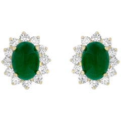 Oval Cabochon Emerald and White Diamond Stud Earring in Yellow Gold