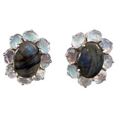 Oval Cabochon Labradorite and Rainbow Moonstone Button Earrings