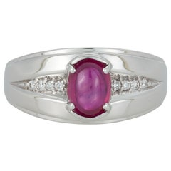Oval Cabochon Ruby Diamond Accent Mens Gents Unisex Ring Band 14K White Gold