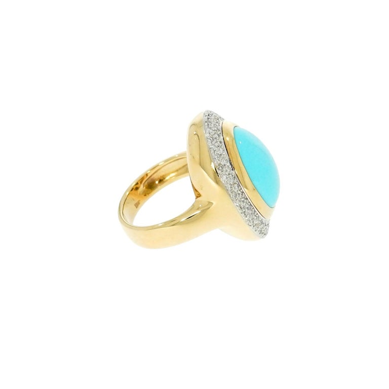 Oval Cut Oval Cabochon Turquoise and Diamond Yellow Gold Cocktail Ring For Sale
